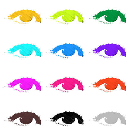 Abstract eyes painted and isolated on white background. Stock Photo