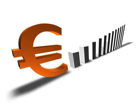 Conceptual 3D-artwork. Increase of the european value. Isolated on white.  Stock Photo