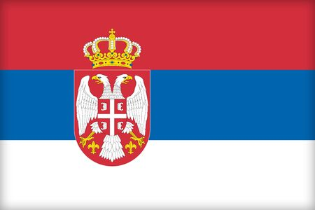 ensign: The flag of Serbia. (Original and official proportions). Stock Photo