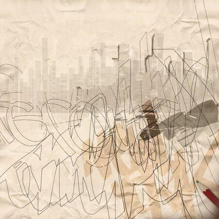 scribbling: Urban Grunge Background Stock Photo