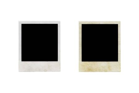 Scanned picture frames isolated on white background. Two different textures. Shadeless.  photo
