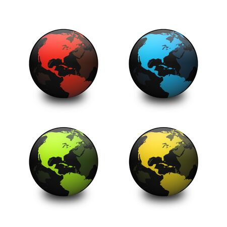 Abstract globe rendering in four different colors. Stock Photo