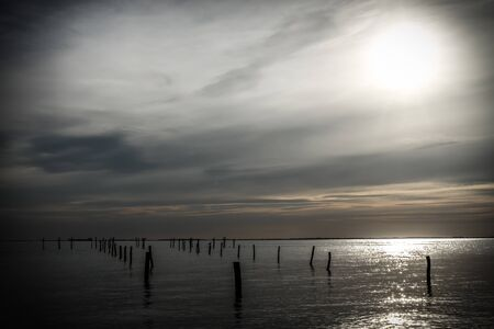 and the stakes: Beautiful view over the sea at Albuen, Nakskov, Denmark