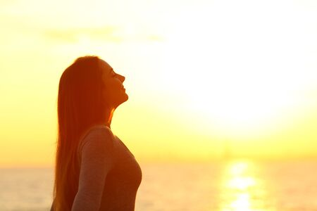 Side view portrait of a relaxed woman breathing deeply fresh air at sunset on the beach Standard-Bild