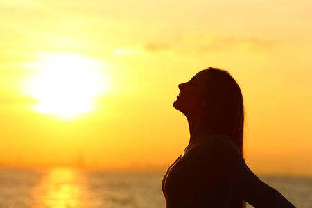 Side view portrait of a relaxed woman silhouette breathing fresh air at sunset on the beach Standard-Bild