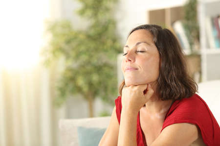 Satisfied middle age woman relaxing sitting in the sofa in the living room at home