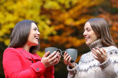 Happy friends talking with coffee mugs standing in a park in winter Stok Fotoğraf