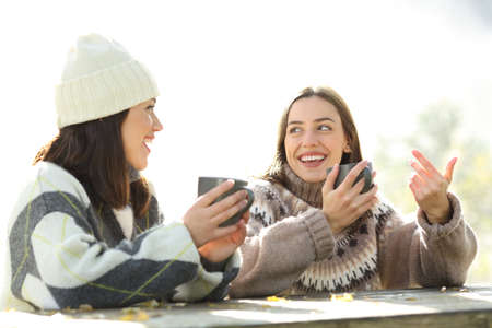 Two friends talking and laughing drinking coffee sitting in the morning in winter in a park