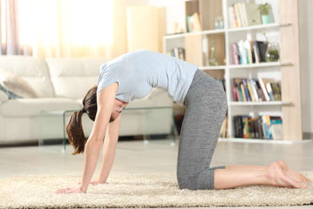 Profile of a woman doing yoga cat pose on a carpet at home