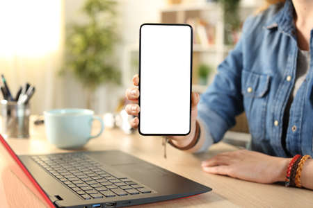 Close up portrait of a student hand showing blank smart phone screen on a desk at home