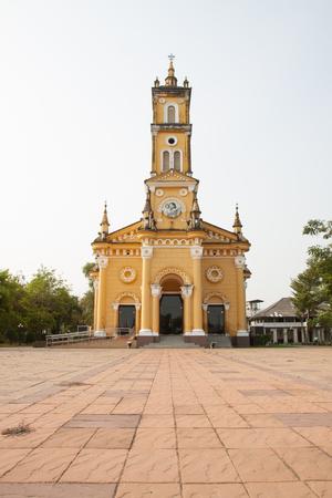 vicar: Yellow church at ayutthaya thailand Stock Photo