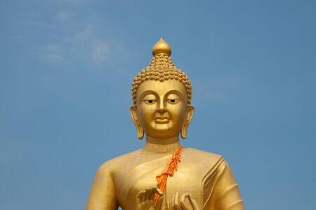 buddha image: Golden buddha image in thai temple Stock Photo