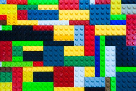 playthings: Variety colorful of the plastic building block Stock Photo