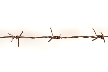 safeguards: The iron barb wire on the white background Stock Photo