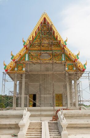 tabernacle: The steel scaffold around the thai temple while construction Stock Photo
