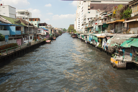 The house near the wastewater canal in bangkok thailand