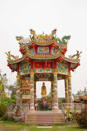 The variety colorful of chinese pavillion in the temple Stock Photo