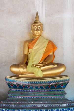 tabernacle: Golden big buddha statue in thai temple Stock Photo