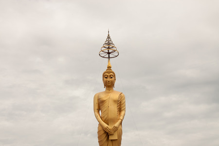 Golden big buddha statue in thai temple Stock Photo