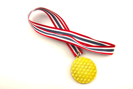 Closeup the gold medal on the white background