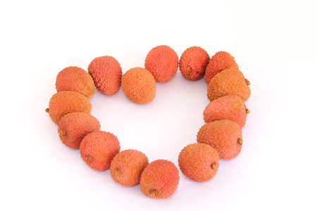 lychees: heart with lychees