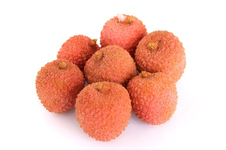 lychees: lychees isolated on white Stock Photo