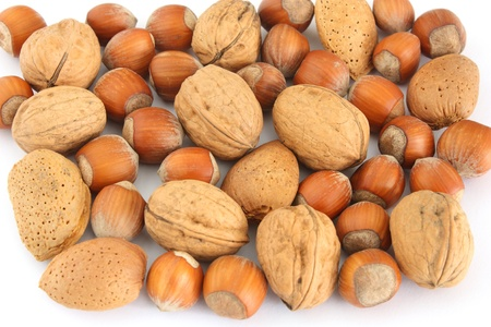 almonds, walnuts and hazelnuts Stock Photo
