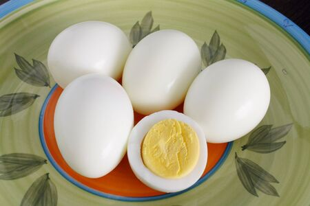 hard-boiled eggs Stock Photo