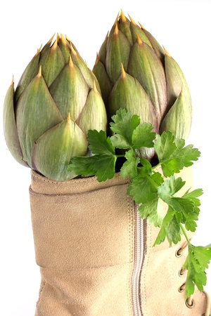 spiny artichokes inside boots for women