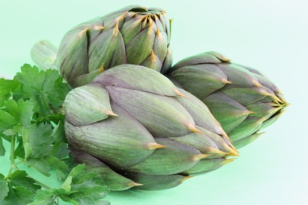 spiny artichokes on a green background Stock Photo - 13036757