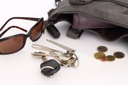 objects inside a woman s bag