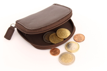 purse with a few coins Stock Photo - 13388339