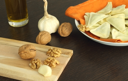 Ingredients for walnut sauce photo