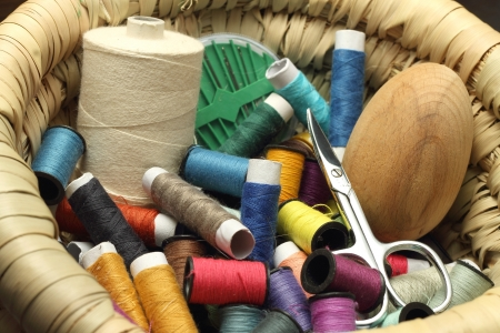 Colored threads and sewing accessories