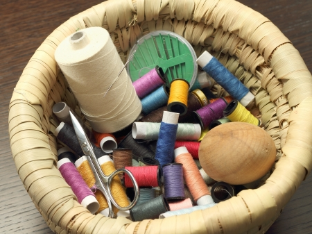 Colored threads and sewing accessories photo