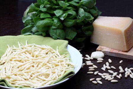 Ingredients for pesto sauce and trofie