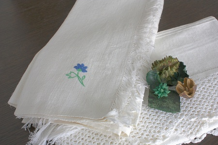 Linen towels embroidered by hand photo