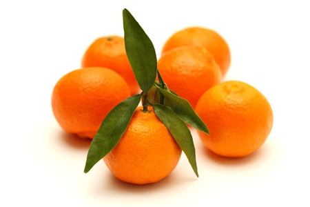 Clementines on white background Stock Photo