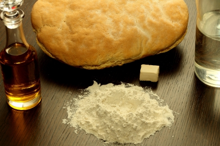 Homemade bread and its ingredients