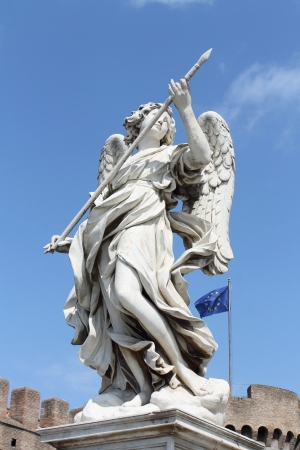 sant: Statue of Angel on Ponte Sant Stock Photo