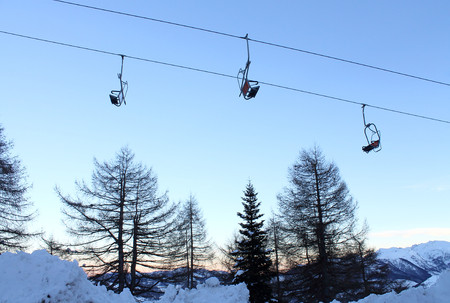 chairlift: Chairlift at sunset