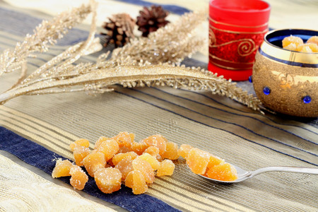 christmas atmosphere: Candied ginger in Christmas atmosphere