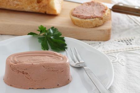 Liver pate in white dish