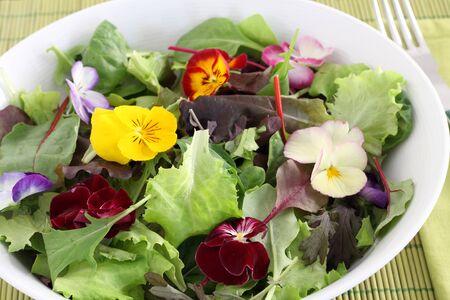 Edible flowers in fresh salad
