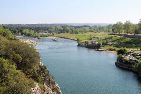 Gardon river, France. View from Pont du Gard