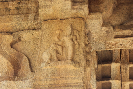 Hampi Vittala Temple Pillar Carving of lord mahavishnu blessing an elephant