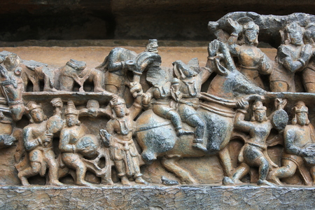 Hoysaleswara Temple Wall Carving of Lord Kubera (god of wealth) on his Goat