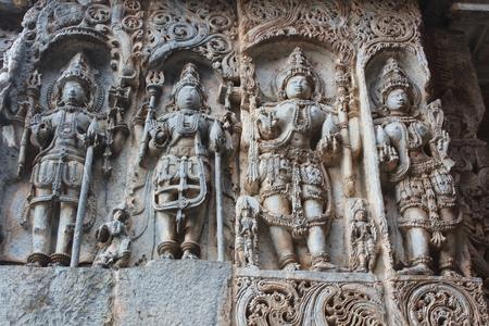 Hoysaleswara Temple Wall Carvings of various Hindu deities