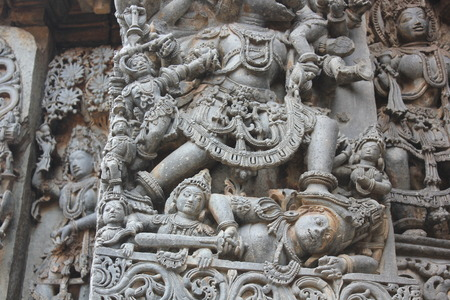 Hoysaleswara Temple Wall Carving of annihilation of a demon