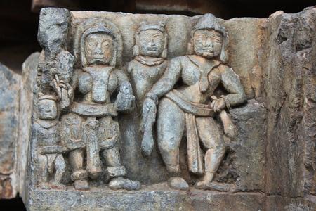 Hoysaleswara 사원에서 조각 된 미완성 된 벽 스톡 콘텐츠 - 86103638